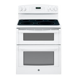 """GE - JB850DFWW 30"""" 6.6 cu. ft. Capacity Free-Standing Electric Double Oven Range With - The GE JB850 30 in 66 cu ft Electric Range with dual Self Cleaning ovens in Stainless Steel features Digital Temperature Display along with electronic touch pad and burner controlling knobs A Power Boil dual choice burner with 9 in and 6 in capabilit..."""