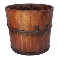 Antique Revival - Natural Vintage Chatwell Bucket - This vintage Chatwell wooden bucket is a great accent piece for your entryway, kitchen, living room or patio. The bucket is tall enough that you can easily use it to hold various items, such as flowers, or let it make a statement on its own. The iron ear handles and band around the middle, along with the natural wood finish, add to the authentic rustic vibe.