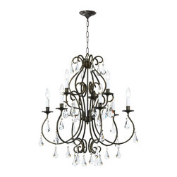 Crystorama - Crystorama Ashton 1 Tier Chandelier in English Bronze - Shown in picture: Clear Hand Cut Crystal Chandelier; Ashton Collection chandelier by Crystorama offers a combination of an English Bronze finish with hand cut crystal.
