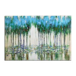 Uttermost - Uttermost 35301  Trees In The Mist Abstract Art - Frameless, hand painted artwork on canvas that has been stretched and attached to wooden stretching bars. due to the handcrafted nature of this artwork, each piece may have subtle differences. this is a high gloss piece.