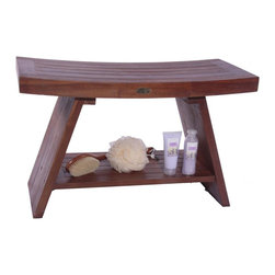 DecoTeak - Asia 29.5 in. Teak Serenity Shower Bench w Sh - Made from plantation grown sustainably harvested solid teak that is naturally water, and mildew resistant.. Asian style, grace, and elegance. Handy storage shelf included. Easy to assemble- all tools and detailed instructions and assembly diagrams included.. Galvanized stainless steel corrosion resistant hardware. Indoor outdoor deep penetrating stain for water, mold, mildew, fungus, and sunlight resistance.. 30 day satisfaction guarantee. Teak fits with modern or traditional bathroom decorUse in the shower, bathroom, or outdoors. Stain:  Deco Teak deep penetrating indoor outdoor golden brown. Assembly Required. Size:  29.5 in. L x 13 in. W x 18 in. H. Product weight:  31 lbs.