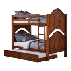 "Acme - Classique Cherry Finish Wood Oval Shaped Paneled End Twin Over Twin Bunk Bed Set - Classique cherry finish wood oval shaped paneled end twin over twin bunk bed set with pull out trundle. bed measures 81"" x 43"" x 74"" H. Some assembly required."