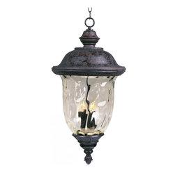 Joshua Marshal - Three Light Oriental Bronze Water Glass Glass Hanging Lantern - Three Light Oriental Bronze Water Glass Glass Hanging Lantern