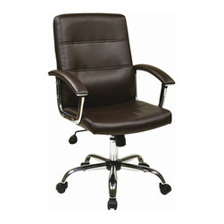 Avenue Six - Avenue Six Malta Office Chair in Espresso - Avenue Six - Office Chairs - MAL26ES - Attractive office chair designed to blow you away. Adjustable height and tilt with heavy duty Chrome base make this chair sturdy and functional. Faux leather with PVC back and side provide the ultimate comfort for a busy day.