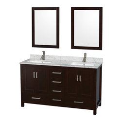 """Wyndham Collection - Sheffield 60"""" Espresso Double Vanity, Carrera Marble Top, Undermount Square Sink - Distinctive styling and elegant lines come together to form a complete range of modern classics in the Sheffield Bathroom Vanity collection. Inspired by well established American standards and crafted without compromise, these vanities are designed to complement any decor, from traditional to minimalist modern. Available in multiple sizes and finishes."""
