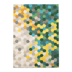 Kaleidoscope Rug - The contemporary Kaleidoscope Rug features a geometric pattern in different hues of green.