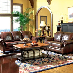Coaster - Princeton 3-Pc Traditional Living Room Set - If you want to change the look of your living room by adding charm and tradition, this set is just right! You get a leather sofa, loveseat and recliner at a very reasonable price. Hardwood frames and webbed bases mean these quality pieces will last. * Includes sofa, loveseat and recliner seat. Cocktail and end table not included. Rolled arm. Webbed base construction. 1.8 cushions with dacron wrap. Decorative moldings. Nail head accents on front of arms. Tri-tone top grain and split leather upholstery. Plump box seat cushion. Exposed turned wood legs. Hardwood frame with webbed base construction. Made from hardwood and leather. Burgundy color. Sofa: 83.5 in. L x 39 in. W x 37 in. H. Loveseat: 62 in. L x 39 in. W x 37 in. H. Recliner: 42 in. L x 39 in. W x 37 in. H. WarrantyEnrich your living room, family room or den with the 3-Pc living room set from the Princeton collection. With a sturdy frame and bold cushions, this leather sofa brings a strong traditional appeal to your living room, family room or den. With a rich look and relaxed feel, the Princeton collection is the perfect choice for your everyday furniture.