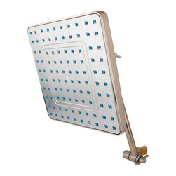 Kingston Brass - 8in. Square Shower Head with 10in. Swivel Arm - This shower head and arm combo includes an 8in. square shower head with 100 water channels and a 10in. swivel shower arm. Its premier finish resists tarnishing and corrosion.