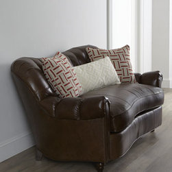 """Key City Furniture - Key City Furniture """"Selma"""" Leather Sofa - Curvaceous sofa combines ruggedly handsome good looks with a plump seat cushion to provide comfortable seating for any living area. Tufted serpentine back and serpentine front rail. Maple frame. Top-grain leather upholstery. Pillows covered in cott..."""
