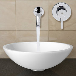 Vigo Industries - Flat Edged Vessel Sink and Faucet - Includes all mounting hardware and hot and cold waterlines and solid brass. Pop-up drain and solid brass mounting ring. Solid tempered glass and phoenix stone construction. Scratch and stain resistant vessel sink. Polished glass interior with matte finished exterior. Easy and above-counter installation. White vessel bowl. Non-porous surface prevents discoloration and fading. Smooth rounded edge. Scratch-resistant. vessel bowl with sleek flat edge combines the durability and natural aesthetics of granite, marble, ceramic and glass. Stain resistant and easy-to-clean surface. 1.75 in. standard drain opening. Temperature control faucet. Dual-hole wall mount installation with a single lever. Ensures durability and longer life. Finishes resist corrosion and tarnishing, exceeding industry durability standards. High-quality ceramic disc cartridge ensures maintenance-free use. Water pressure tested for industry standard. 1.5 GPM flow rate. Standard US plumbing 0.37 in. connections. Thickness: 0.625 in.. cUPC and NSF-61 certified by IAPMO. ADA compliant. Warranty: Lifetime. Surface prevents discoloration and fading. Chrome color. Sink: 16.5 in. Dia. x 5.5 in. H. Faucet: Handle faceplate Dia.: 4.37 in.. Spout Reach: 7.37 in.. Spout faceplate Dia.: 2.37 in.. Handle centre to spout centre width: 5.25 in.. Faucet Assembly Instructions. Sink specifications. Sink Assembly InstructionsThe VIGO Flat Edged Phoenix Stone Vessel Sink with Chrome Wall Mount Faucet is a stunning and modern piece to any bathroom. Phoenix Stone is a revolutionary new blend of crystallized glass and stone resulting in a highly durable complex material.