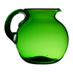 Lavish Shoestring - Consigned Green Glass Bubble Water Jug, Vintage English, 1930s - This is a vintage one-of-a-kind item.