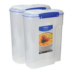 Sistema Klip It Cereal Containers - Our Klip-It storage range features a utility container to suit all your kitchen storage requirements from juice to cereals to salads to cold cuts.  Multiple sizes are available in most styles.  The patented clasps and an airtight lid make it super easy to open and close  and you can be sure that the contents of the container will stay fresh!  BPA Free  made in New Zealand from 100% lead free virgin materials.            Product Features                         2 Klip-It Cereal Containers          Capacity - 4.2 Litre / 142 oz / 17 cups                  Microwave  dishwasher  & freezer safe          BPA Free - Made from lead free virgin materials          Made in New Zealand