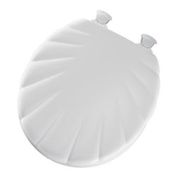 BEMIS MFG - Toilet Seat Round Wood Shell White - Twist hinges to remove seat for easy cleaning and replacement, premium sculptured wood seat with shell design, superior high-gloss finish resists chipping and scratching.