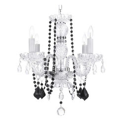 The Gallery - Crystal Chandelier with Black Crystal Beads - Even your smaller space deserves special sparkle. This delightful crystal chandelier gets added drama from elegant jet black strands and drops.