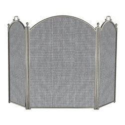 Lustrous Three Fold Fireplace Screen with Handles - Satin Pewter - The exquisite Satin Pewter finish takes the Lustrous Three Fold Fireplace Screen with Handles from ordinary to extraordinary. The handles allow for easy placement of the side panels for optimum protection from sparks and rolling logs.
