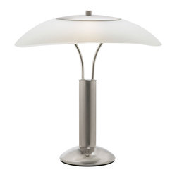 Dainolite - Dainolite DM217-SC Table Lamp Sc Finish Frosted White Glass Shade - Dainolite DM217-SC  Table Lamp SC Finish Frosted White Glass Shade