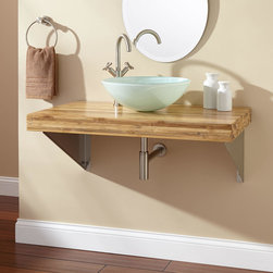 """37"""" Bamboo Wall-Mount Vessel Sink Vanity - Triangular Brackets - Establish a minimalist look in your bathroom with the 37"""" Wall-Mount Vanity, crafted of real bamboo. Triangular stainless steel brackets support the underside of this wall-hung vanity, making it an ideal way to show off your unique sink (sold separately)."""