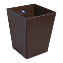WS Bath Collections - Ecopelle Chrome Leather Waste Basket - Ecopelle 2603 by WS Bath Collections 9.1 x 9.1 x 11.8 Waste Basket, External Coating Synethic Leather, Linen Synthetic Cloth, Structure in MDF Fibreboard, Free Standing, Available in Creme, Black, Dark Brown, Green, Orange, and Red, Made in Italy