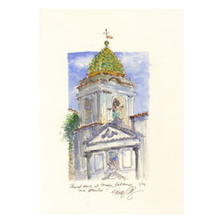 "Church Tower At Massa Lubrense, Italy, Original, Painting - Pen and ink drawing with watercolor painting of a church tower with its tile covered cupola against a blue sky in the town of massa lubrense near sorrento and the amalfi coast. it was painted en plein air and is part of my collection of ""journal paintings"" with writing at the bottom noting the location and date - 11/6 (november, 2006)."