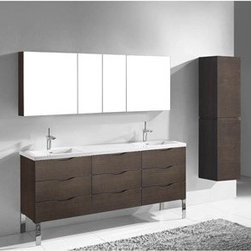 "Madeli - Madeli Milano 72"" Double Bathroom Vanity for X-Stone Integrated Basins - Walnut - Madeli brings together a team with 25 years of combined experience, the newest production technologies, and reliable availability of it's products. Featuring sleek sophisticated lines Madeli vanities are also created with contemporary finishes and materials. Some vanities also feature Blum soft-close hardware. Madeli also includes a Limited 1 Year Warranty on Glass Vessels, Basin, and Counter Tops. You'll fall in love with the architectural beauty of the Milano Collection. Featuring clean lines and royally standing on polished chrome legs, the contemporary style combines texture, form and function to create the perfect backdrop for your modern bath. Designed with European-style integrated handles, and complete with full extension Grasshopper soft closing drawers, you'll also find it offers unmatched functionality. Quality is evident in the refined wood construction and polyurethane-protected finish. Choose a rich Walnut or Ash Grey finish for a warm contemporary look, or Glossy White finish to achieve that modern style. It's your choice!Features 72"" cabinet features 7 fully adjustable drawersBottom drawer includes adjustable tempered glass dividers Walnut finish Soft-close drawer glides Four polished chrome feet1-1/2""H X-Stone Solid Surface Countertop/basin with overflow drilled for single-hole or 8"" widespread faucetsFaucet and drain are not included No backsplash Matching mirror and medicine cabinet available Limited 1 Year Warranty on Glass Vessels, Basin, and Counter Tops How to handle your counter Spec Sheet Installation Instructions -->"
