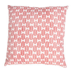 Jaipur Rugs - Handmade Cotton Red/Ivory/White Pillow - Mozambique cotton based pillow blocked printed with simple patterns.  These pillows will add a cultural aesthetic to your living area.