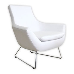 "Rebecca Occasional Chair - I'm diggin' the streamlined ""nest"" look of this modern chair for a nursery. The faux leather finish would hold up well to baby, toddler and teenager alike."