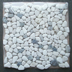 "Stone Center Corp - Travertine Mix Emporador Dark River Rocks Pebble Mosaic Tile Tumbled - Travertine and Emporador Dark Marble random pebble pieces mounted on 12"" x 12"" sturdy mesh tile sheet"