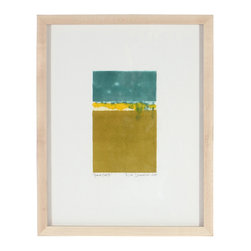 """Lost Art Salon - """"Horizon Study XI"""" 2013 Monoprint - This 2013 monoprint using Water-Based Paints on Archival paper abstract entitled """"Horizon Study XI"""" is by San Francisco artist and Lost Art Salon co-owner Rob Delamater (b.1960).  Delamater creates abstract compositions that evoke organic shapes and motifs from the natural world as well as representations from his dynamic city life. Framed in a contemporary maple wood frame behind conservation clear glass using archival framing techniques. More works by this artist are available at Lost Art Salon and online on their artist collection page."""