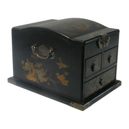 Golden Lotus - Chinese Black Phoenix Dragon Mirror Jewelry Box - This jewelry box is modified from the traditional Chinese box. It is made of cardboard paper and covered with artificial leather.
