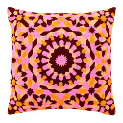 Delight in Magenta Decorative Pillow - Made from 100 percent natural cotton, these hand embroidered decorative pillows will delight your senses and arouse newfound creativity. The brightly colored turquoise and aqua sunburst patterns evoke memories of youthful freedom, filling your heart and home with light. Dry clean only, each pillow comes with a synthetic down insert.