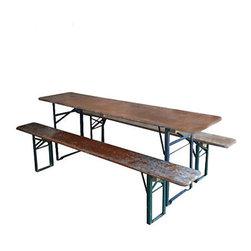 Beer Garden Table And Bench - This is an aptly titled bench. I'd turn my backyard into just that!