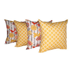 Land of Pillows - Hockley Banana and Menagerie Citrus Outdoor Decorative Throw Pillow - Set of 4 - Fabric Designer - Mill Creek