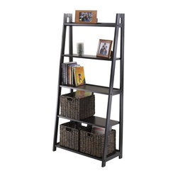Winsome Wood - 5-Tier A-Frame Ladder Shelf - Attractive and free standing. Can be used as a bookshelf or display shelf. Five different shelves in various shelf size. 12 in. clearance between each shelf. Made from solid, composite wood. Black finish. Assembly required. Shelves: 26.30 in. W. 1st top shelf: 4.19 in. D. 2nd top shelf: 6.06 in. D. Middle shelf: 7.91 in. D. 4th shelf: 9.78 in. D. 5th bottom shelf: 11.65 in. D. Overall: 27.87 in. W x 12.99 in. D x 58.03 in. H