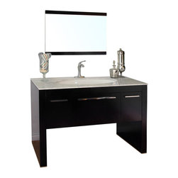 "Bella Terra - Bellaterra 55.3"" Single Sink Vanity in Dark Walnut-White Marble - The unique styling gives this modern vanity a beautiful appearance, very dramatic, allowing the overall design and beauty to make an incredible statement in your bathroom. This vanity set is truly an awesome piece, completely original and completely unique - it's definitely cutting edge contemporary bathroom design. The vanity is made with all wood, finished in dark walnut finish, properly sealed to stand against bathroom humidity. The unique leaf shape sink is hard to find in the market. The cabinet is completely assembled, and installed with genuine Blum soft closing drawer glides. Genuine polished white marble top and high quality leaf shape white vitreous china sinks."