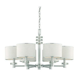 Eurofase Lighting - Eurofase Lighting 15862 Six Light Up Lighting Chandelier Savvy Collecti - Six Light Chandelier from the Savvy CollectionFaux suede chocolate brown drum shades are accented with concentric clear discs supported by brightly brushed metal, for a formal contemporary effect.