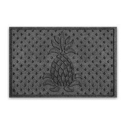 Balsam Hill - Balsam Hill® StormGuard Doormat - Charcoal Welcome Pineapple - 2' x 3' - The Balsam Hill Welcome Pineapple pattern StormGuard� floor mat keeps your entryways spotless and clean, even in the harshest of weather. Made out of premium synthetic fiber, this tough but elegant floor mat traps moisture, dirt, and dust while resisting everyday wear and tear, mold, and mildew. Our heavy-duty floor mat is able to retain its attractive appearance for many years and it also boasts an absorbency rate of over one gallon per square yard. Fits standard doorways, comes in the color charcoal. Free shipping when you buy today!