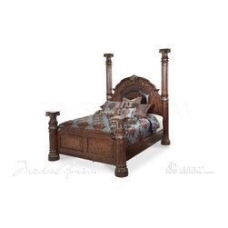 AICO Furniture - Monte Carlo II Poster Bed wth Canopy in Cafe Noir by Michael Amini - Inspired by the regal elements of Roman architecture, the Monte Carlo Collection evokes images of an opulent past.