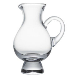 Whiskey Pitcher - Graceful glass pitcher pairs with your favorite whiskey, decanting small pours or adding a splash of water to open up subtle flavors. Curvy, bulb-shaped pitcher gets a lift from bold, tapered sham and shapely handle.