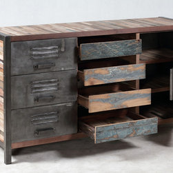 """Industrial / Locker Style 9 Shelf, 4 Drawer Cabinet / Buffet - A 4 drawer, 6 door / shelf """"locker room style"""" cabinet made from salvaged / reclaimed boat wood.  This furniture has a rustic / modern / industrial look and is very well made."""
