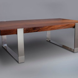 Live-Edge Slab Wood Table with Mirror Polished Stainless Steel Support - This lovely coffee table was handcrafted from a slab of Silver Maple wood, that once was a Silver Maple tree that was felled by a storm near Chicago.