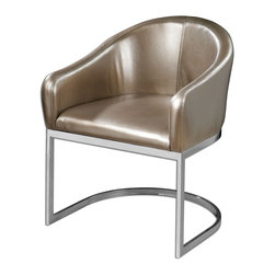 Champagne Faux Leather Marah Modern Accent Chair - *Modern Barrel-style Accent Chair In Metallic, Champagne Faux Leather And Polished Chrome Base