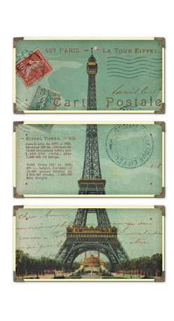 Uttermost - Uttermost 40917  Eiffel Tower Carte Postale Art Set/3 - The prints are laminated to wood boards. each board has antique brass corner accents and decorative screws. each panel is 12x23.