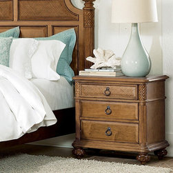 American Drew - Grand Isle 3 Drawer Nightstand - 079-420 - Shop for Nightstands from Hayneedle.com! The Grand Isle 3-Drawer Nightstand is just what you need when settling down for the night. This nightstand has storage drawers for books pens the crossword puzzle and much more. The top is spacious enough for a lamp alarm clock and keepsakes. This nightstand has the updated tropical feel that matches the Grand Isle Bedroom Collection. It is made of maple and burl ash solids and veneers with a warm amber finish with aged brass ring hardware to match. Design details include a woven drawer front on the top drawer carved pilasters and carved feet. Have a good night.About Lea IndustriesLea Industries is a leading manufacturer of youth furniture. Each piece is crafted from fine hardwoods veneers wood products and simulated wood to ensure both durable and quality furniture that will stand up to years of wear and tear. Lea's youth furniture offers a wide assortment of styles for both girls and boys with a broad selection of specialized functional designs including four-poster canopy beds bunk beds storage beds dual sleep beds student desks and learning centers for youth computing. Lea's wide variety of styles ranges from 18th century and country to casual contemporary. Lea traces its origins back to 1869. Their headquarters is located in Greensboro N.C.