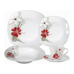 """Lorren Home Trends - Porcelain 20 Piece Square Dinnerware Set Service for 4, Red Floral - 20 Piece Porcelain Square Dinnerware Set, service for 4.  This elegant and stylish set is made of durable porcelain.  Set includes 4-10.5"""" dinner plate, 4-9"""" Soup bowl, 4-8"""" Salad plate, 4-6 ounce coffee cup and 4-saucers.  Fun designs for entertaining and dining. Dishwasher and Microwave Safe."""