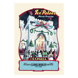 """Buyenlarge.com, Inc. - Ice Palace: March and Two-Step- Fine Art Giclee Print 16"""" x 24"""" - Edward Taylor Paull (1858 - 1924) was a prolific publisher of sheet music marches. His songs gained acclaim more from the cover art of the sheet music than often from the lyrics and tune."""