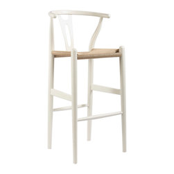 "Wholesale Interiors - Mid-Century Modern Wishbone Stool and White Wood Y Stool - This mid-century bar chair features traditional wood construction paired with a modern form, resulting in a unique piece for your home. The frame consists of solid wood with a white finish, a curved backrest, and sturdy, taut unfinished natural hemp cord seat. This item will arrive fully assembled and is also available in green or as a dining chair in natural, dark brown, pink, green, black, or white (each sold separately). This is a quality reproduction of the Hans Wegner Wishbone Chair, which is also known as the Wegner Y Chair, Carl Hansen Wishbone Chair, CH24 Wishbone Chair, and the Wegner CH24. Seat Dimensions: 28.5"" H x 17"" W x 15"" D. Overall Dimensions: 40.75"" H x 19.5"" W x 18"" D."