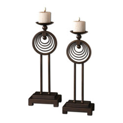 www.essentialsinside.com: ciro, oil-rubbed bronze contemporary candle holders - Ciro, Contemporary Candle Holders, Set Of 2 by Uttermost, available at www.essentialsinside.com