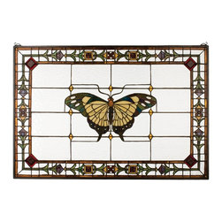 Meyda Tiffany - Meyda Tiffany Victorian Butterfly Tiffany Window X-90102 - Victorian influencing is seen in the central butterfly design, as well as the trim, on this visually appealing Meyda Tiffany butterfly Tiffany window. Featuring a soft white backdrop and intricately detailed border, the butterfly comes in muted tones that create a unique look that is sure to please.
