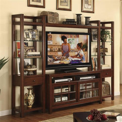 Riverside Furniture - Avenue Entertainment Center in Dark Cherry Fi - Includes left and right piers, bridge and TV console. CPSC HR-4040 certified. Made from poplar hardwood solid and birch veneerTV Console:. Left and right sliding doors each contain an adjustable shelf. Left door contains bottom pull-out shelf mounted on ball-bearing guides. Two open storage areas. Wiring access and ventilation slots. Base levelers. Tip restraining hardware. 56 in. W x 19 in. D x 30 in. H (178 lbs.)Left and right facing pier:. Three adjustable glass shelves. Drawer constructed with dovetail joinery and mounted on ball-bearing extension guides. Base levelers. Tip restraining hardware. 20 in. W x 14 in. D x 74.5 in. H (220 lbs.)Bridge:. Three storage sections. 50.5 in. W x 14 in. D x 14 in. H (47 lbs.). TV Console Assembly instructions