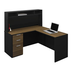 Bestar - Bestar Pro-Concept L-Shaped Workstation with Small Hutch and Pedestal - Bestar - Executive Desks - 11085198 - This commercial collection offers numerous configuration possibilities to customize your work environment. The compact desk dimensions will facilitate your layout while preserving efficiency and well-being.